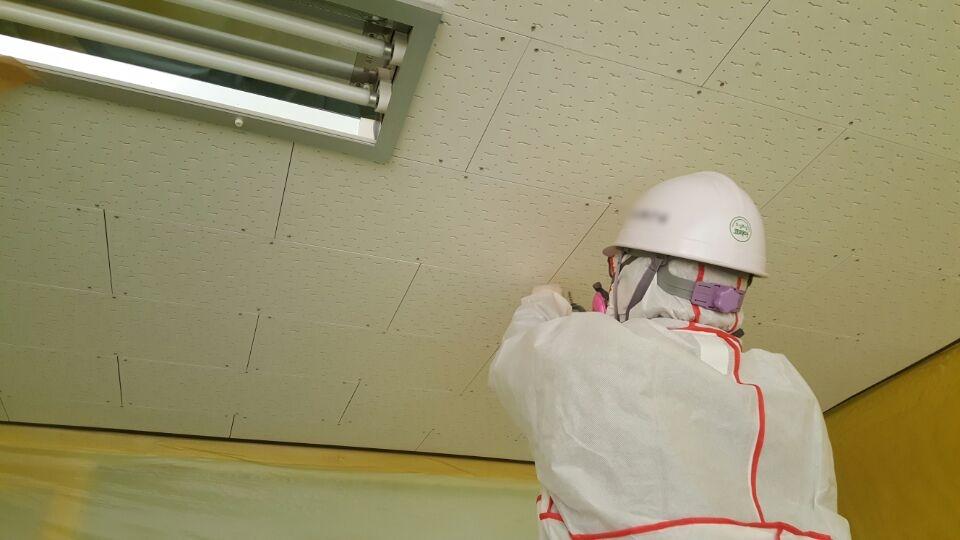 14 번째 사진  에  연면적137.84 ㎡ 울산 울주군 어린이집 겨울방학 천저텍스 석면처리 현장
