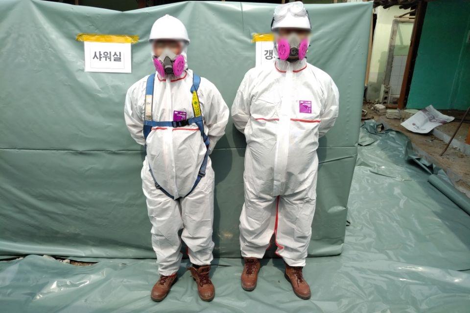 7 번째 사진  에  연면적127.34 ㎡ 경남 남해군 상주면 지붕슬레이트 석면철거 공사