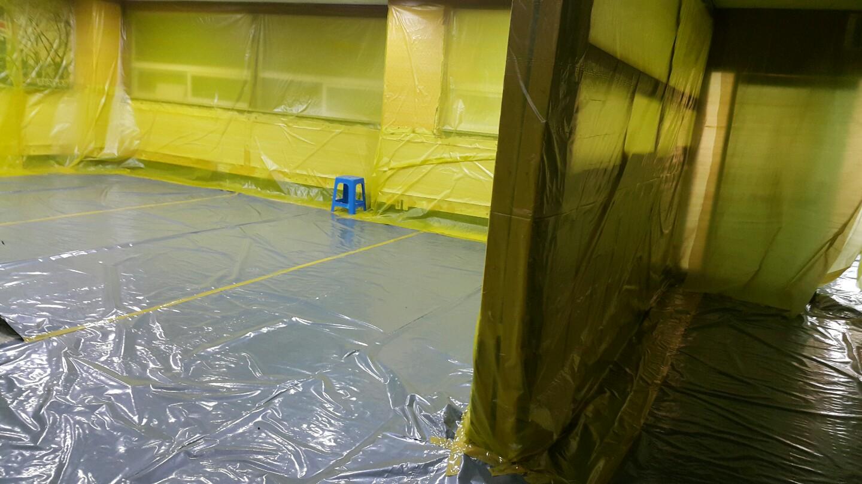 11 번째 사진  에  연면적911.08 ㎡ 장유누가병원 장례식장 내부공사를 위한 석면해체 제거