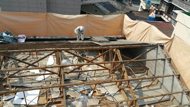 14 번째 사진  에  연면적106 ㎡ 부산시 금정구 범어천로 슬레이트지붕철거 한아름어린이집 석면해체 제거