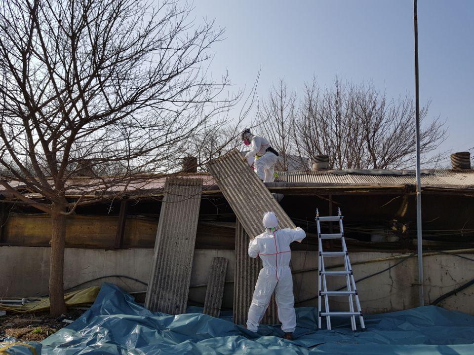 10 번째 사진  에  연면적787 ㎡ 경북 영천시 대창면 명성농장 슬레이트지붕 석면철거