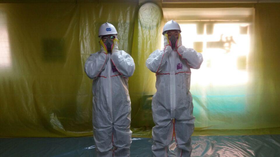 9 번째 사진  에  연면적73.92 ㎡ 대구 동구 상가건물 석면조사 후 천정텍스 석면처리 완료보고서