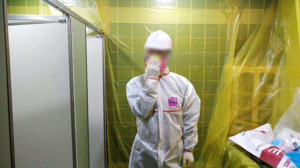 9 번째 사진  에  연면적49 ㎡ 부산시 금정구청 화장실 밤라이트 석면해체 제거현장