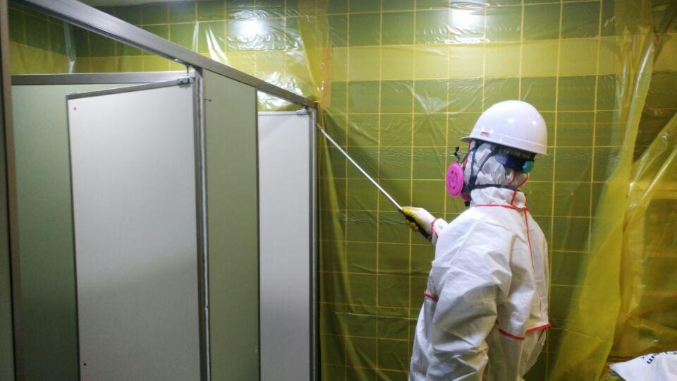 10 번째 사진  에  연면적49 ㎡ 부산시 금정구청 화장실 밤라이트 석면해체 제거현장
