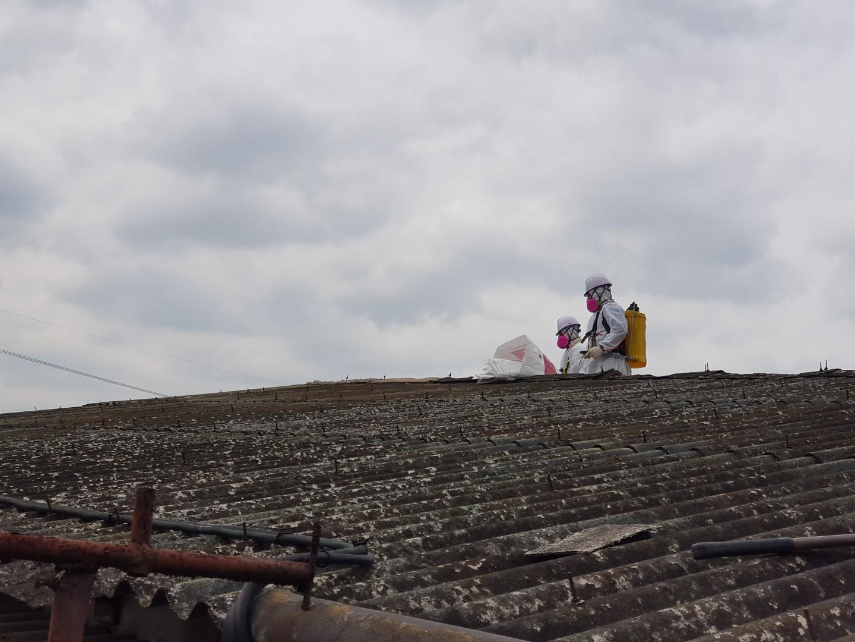 10 번째 사진  에  연면적243 ㎡ 경남 창녕군 대지면 슬레이트 지붕 석면처리 현장