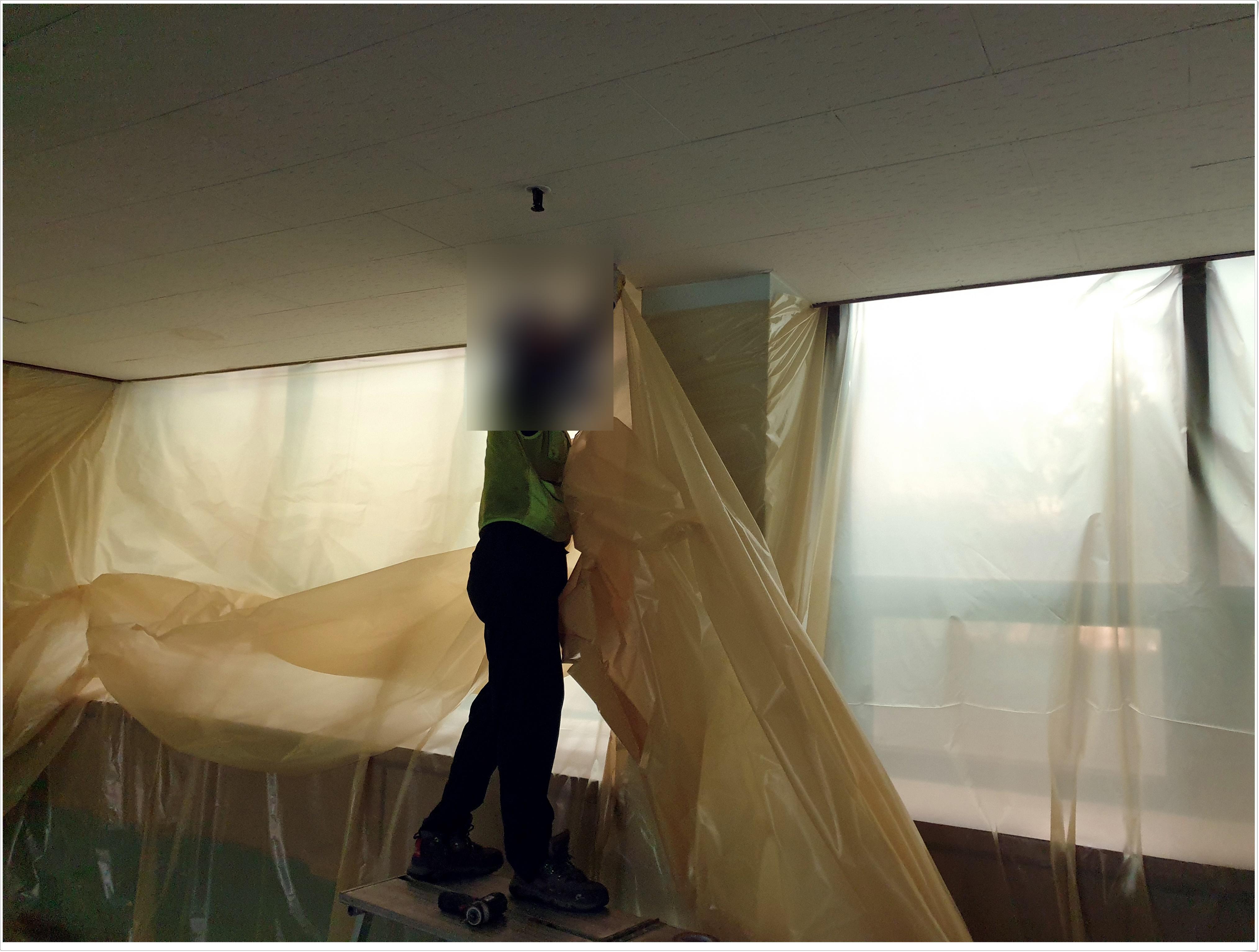 5 번째 사진  에  연면적 ㎡ 부산 건축물 석면철거 현장 (보양작업)