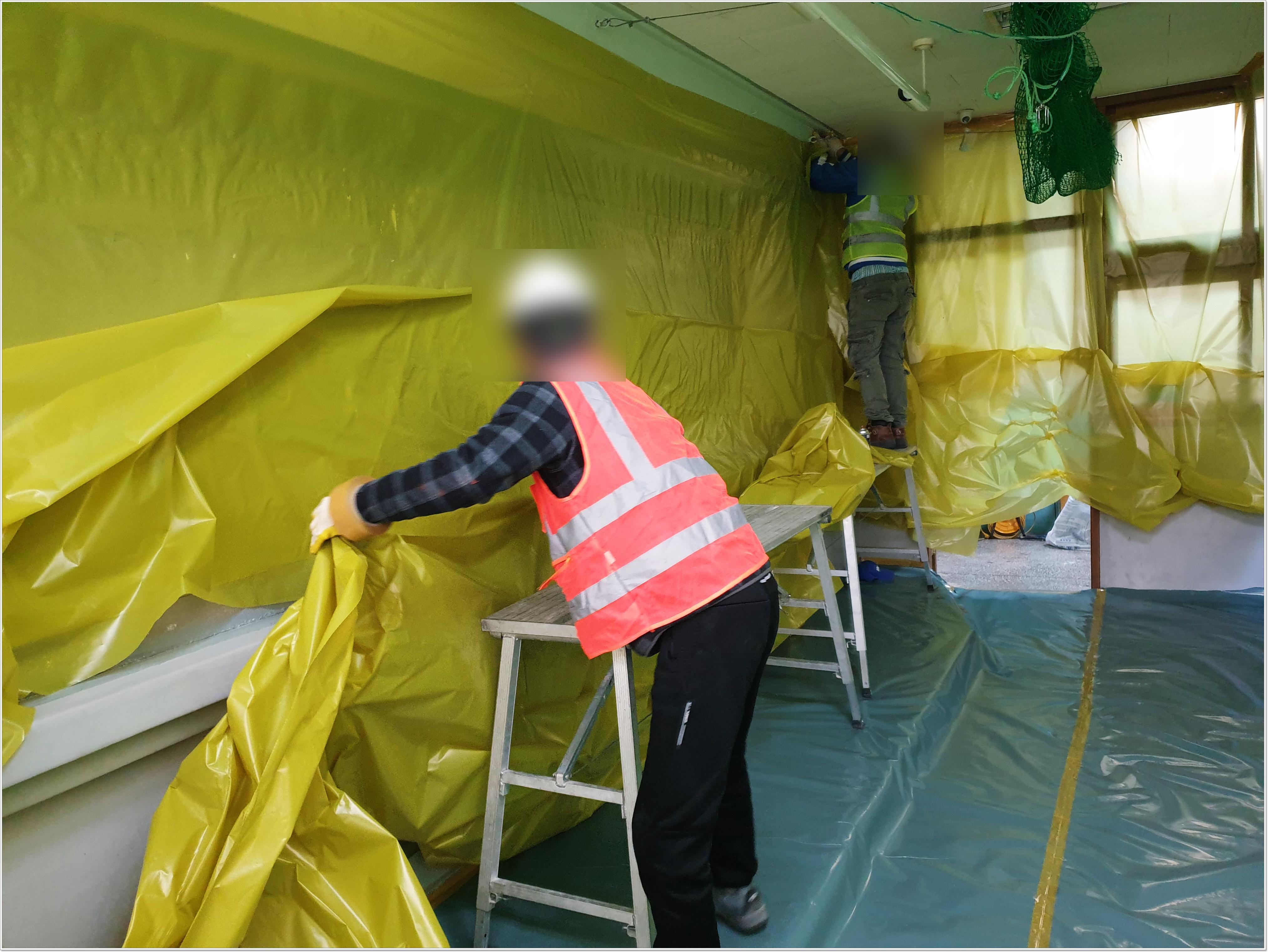 6 번째 사진  에  연면적 ㎡ 부산 중학교 석면해체 현장 (천장 텍스)